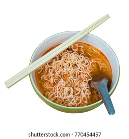 Instant noodle in a bowl isolated on white background. This has clipping path