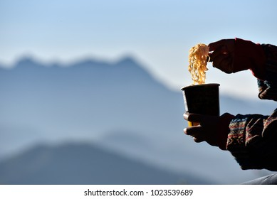 Instant noodle with mountain in background