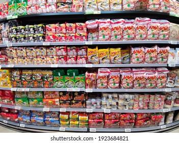 instant noodle in supermarket ,Bangkok Thailand 12 Feb 2021