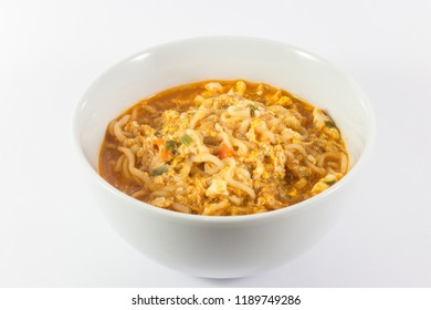 Instant noodle in white bowl on white background