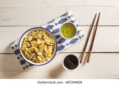 Instant Noodles on Rustic Table