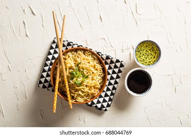 Instant Noodles on Rustic White Table
