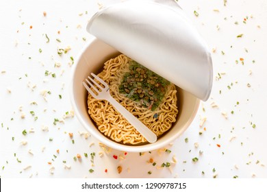 instant noodles in pack on white background