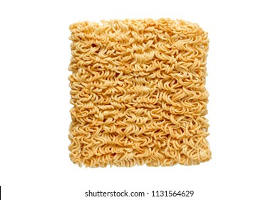 Instant Noodles. Instant Noodles top view isolated on white background.