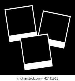 Instant photos isolated on a black background