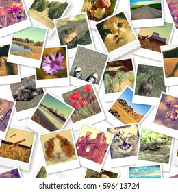 Instant photos. Seamless pattern background. Photo collage.
