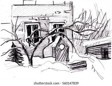 Instant sketch, village in winter