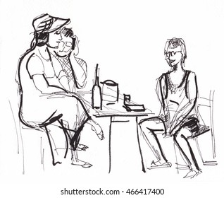 instant sketch, women and man,  black and white,