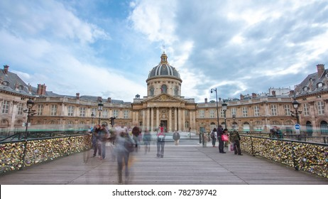 Institute de France in Paris  from Pont des Arts timelapse hyperlapse (architect Louis Le Vau, construction was made between 1662 and 1688) - French learned society