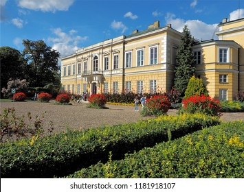 Institute and flowers.  Skierniewice, Poland - September 15, 2018 Surrounded by flower beds of Kany, the floriculture institute in Skierniewice.