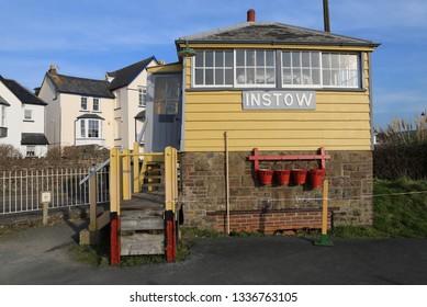 Instow, Devon, England, UK.  February 24, 2019.  The signal box on the old Barnstaple to Bideford railway line.