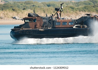 Instow, Devon, UK - 29th June 2018: Royal Marine's, the amphibious light infantry of the Royal Navy, on exercise with the Griffon 2000 series light-weight hovercraft which is used by the military.