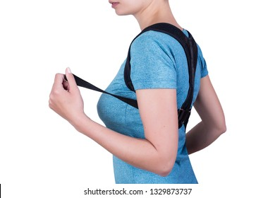 Instruction how to wear back posture corrector. Different angels. Woman wearing back support belt for support and improve back posture.