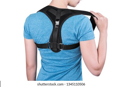 Instruction how to wear back posture corrector. Different angels. Women wearing back support belt for support and improve back posture.