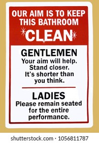 An instruction sign in a public toilet advising gentleman and ladies how to keep the bathroom clean
