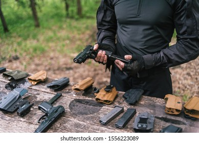 instructor in sport shooting to test your weapons in nature