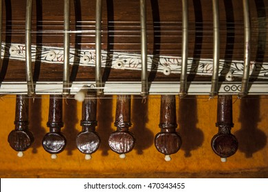Instrument case with Sitar, a string traditional Indian musical instrument. Close-up
