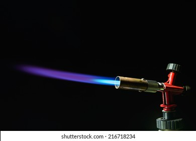 instrument gas burner flame burns blue machine