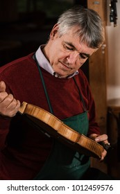 instrument maker is working in his craftsman house on violins and strings