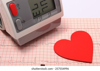 Instrument for measuring blood pressure and red heart shape on electrocardiogram graph, ekg heart rhythm, medicine concept