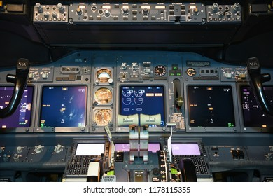 Instrument panel of a commercial airplane