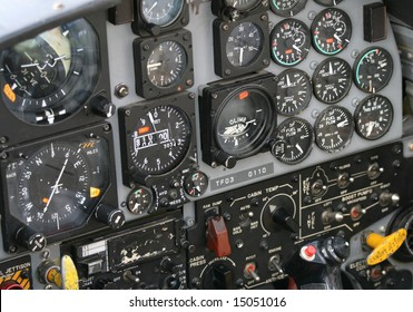 The instrument panel inside a Canadian jet fighter.