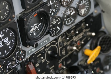 Instrument panel inside a Canadian military jet fighter.