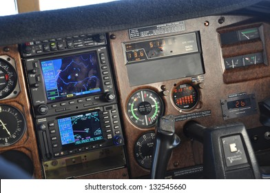 Instrument panel of a light aircraft showing approach to Greymouth, New Zealand