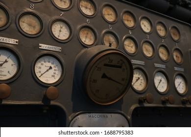 Instrument panel with pressure gauge of a control panel of an ancient power plant.