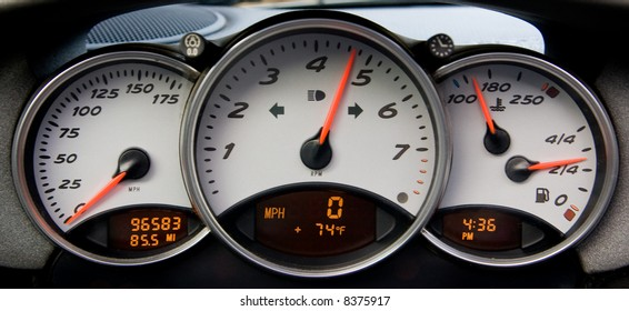 Instrument panel and tachometer from a modern high performance automobile.
