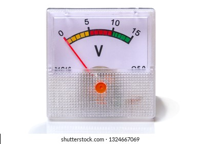 Instrument voltmeter isolated on white background