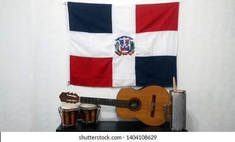Instruments of Bachata (guira, bongo and guitar) and Dominican Republic flag
