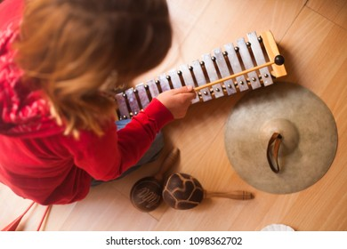 instruments and children music theraphy instruments on the wooden floor