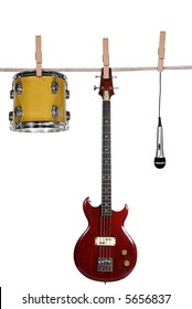 Instruments hanging on a clothesline isolated on white
