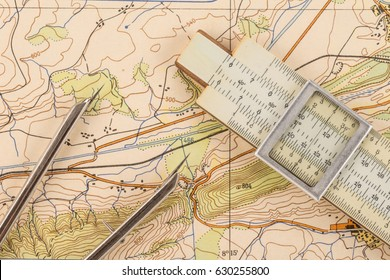 Instruments for measuring on a topographic map
