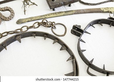 Instruments of torture from the Inquisition, detail of objects to torture, pain and physical damage