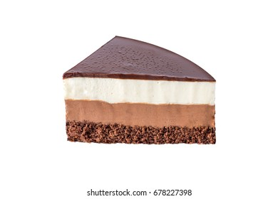 Insulated chocolate mousse cake made of three different chocolate mousse layers , white , milk and dark with chocolate. Delicious homemade dessert.