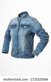 insulated denim jacket on a white background, blue jeans