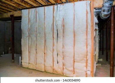 Insulation of basement with fiberglass of house with insulation material
