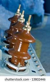 Insulators Of Oil-Filled Transformer - a close-up