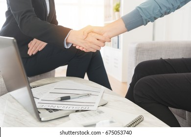 insurance agent visiting client's home selling policy scheme and successful deal, shaking hands together celebrating finished contract.