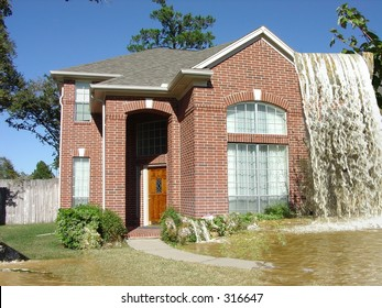 Insurance Agent's Nightmare, House with Waterfall flowing over the roof