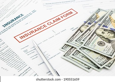 insurance claim form and compensate money, accidental and insurance concepts