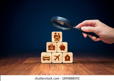 Insurance company client focus on complete insurance concept. Assurance and insurance: car, real estate and property, travel, finances, health, family and life.