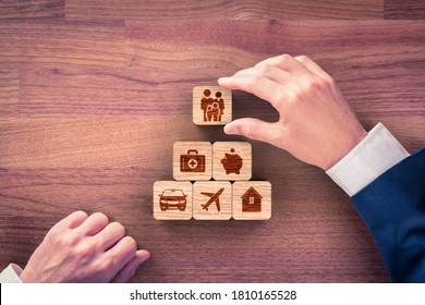 Insurance company client take out complete insurance concept. Assurance and insurance: car, real estate and property, travel, finances, health, family and life. Top-down view flat lay design.