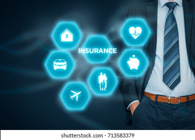 Insurance concept. Businessman with button and insurance icons: real estate, car, travel, family and life, financial and health.