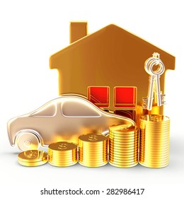 Insurance concept. Car, house and stacks of golden coins isolated on white background