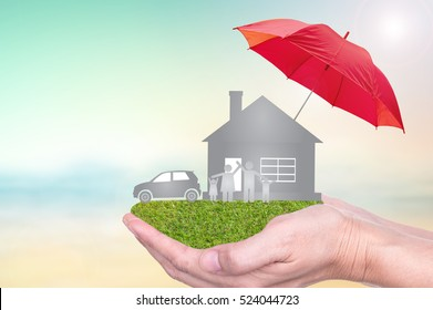 Insurance concept of car insurance, life insurance, home insurance to protection by umbrella.