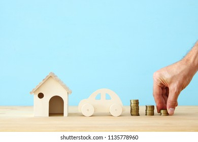 Insurance concept. family life, mortgage, financial and health issues