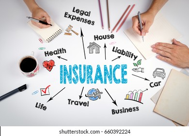 Insurance Concept. The meeting at the white office table